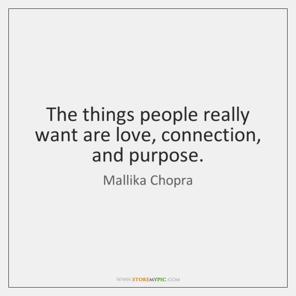 The things people really want are love, connection, and purpose.