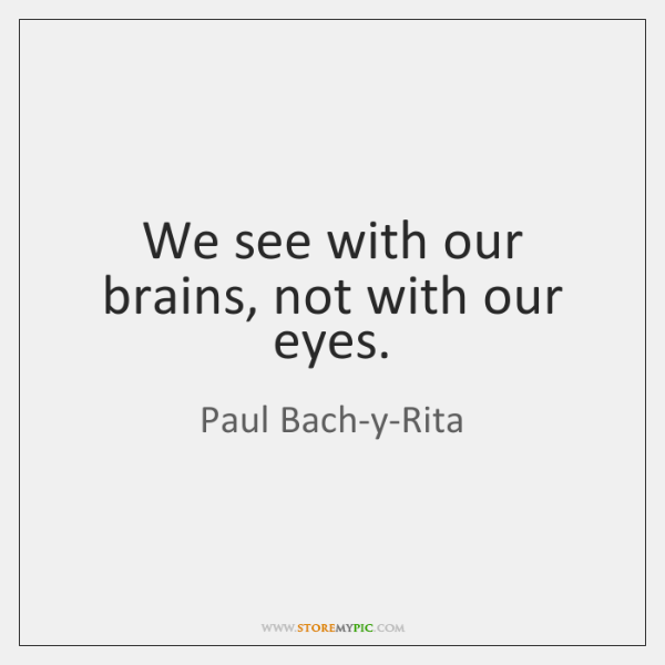 We see with our brains, not with our eyes.