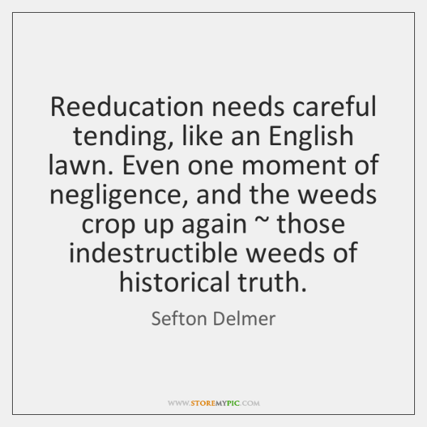 Reeducation needs careful tending, like an English lawn. Even one moment of ...