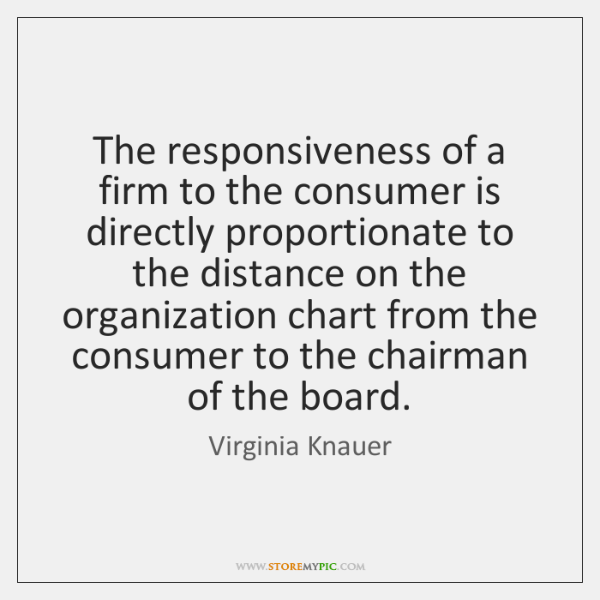 The responsiveness of a firm to the consumer is directly proportionate to ...