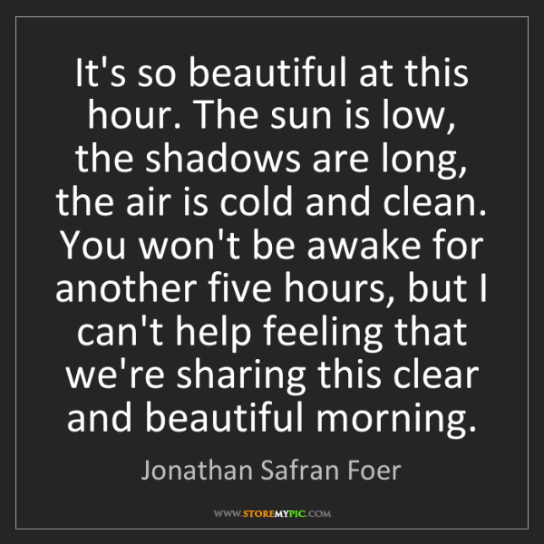 Jonathan Safran Foer: It's so beautiful at this hour. The sun is low, the shadows...