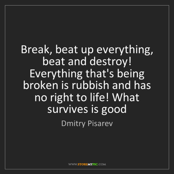 Dmitry Pisarev: Break, beat up everything, beat and destroy! Everything...