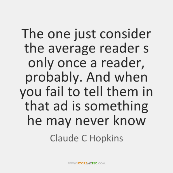 The one just consider the average reader s only once a reader, ...