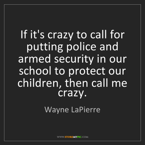 Wayne LaPierre: If it's crazy to call for putting police and armed security...