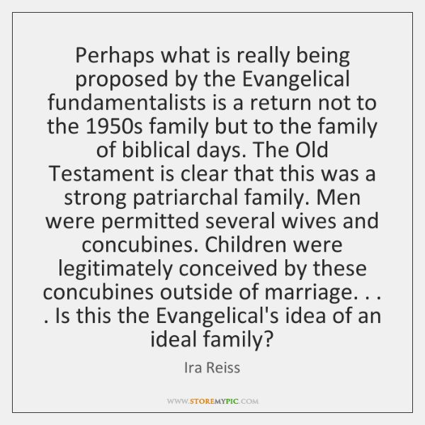 Perhaps what is really being proposed by the Evangelical fundamentalists is a ...