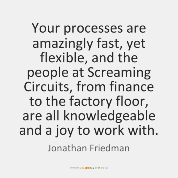 Your processes are amazingly fast, yet flexible, and the people at Screaming ...