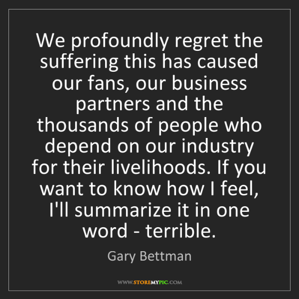 Gary Bettman: We profoundly regret the suffering this has caused our...