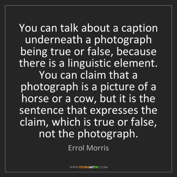 Errol Morris: You can talk about a caption underneath a photograph...