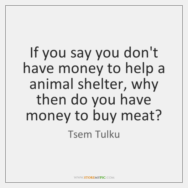If you say you don't have money to help a animal shelter, ...