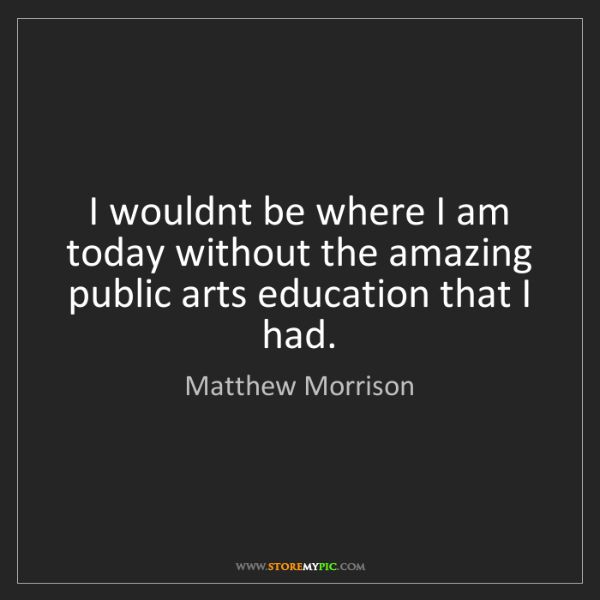 Matthew Morrison: I wouldnt be where I am today without the amazing public...