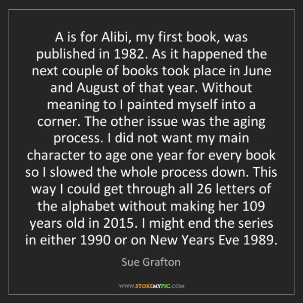 Sue Grafton: A is for Alibi, my first book, was published in 1982....