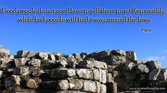Good people do not need laws to tell them to act responsibly while bad people will fi