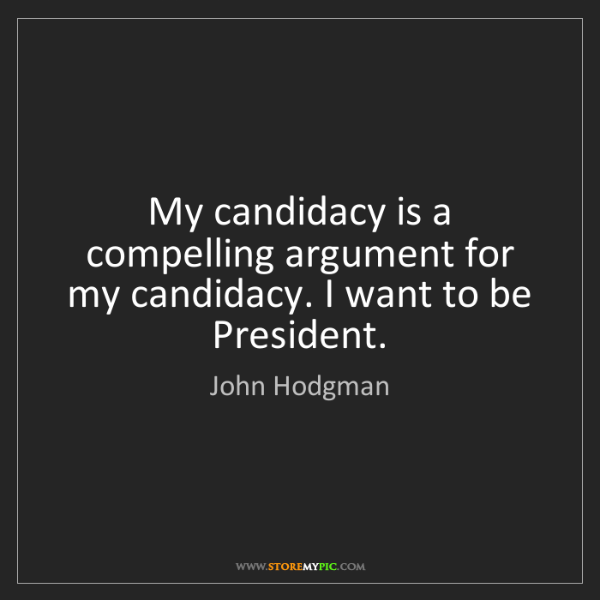 John Hodgman: My candidacy is a compelling argument for my candidacy....