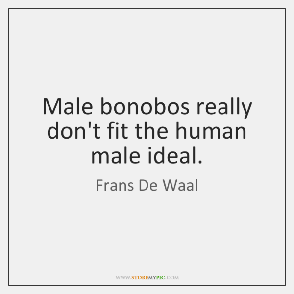 Male bonobos really don't fit the human male ideal.