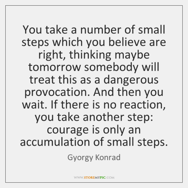 You take a number of small steps which you believe are right, ...