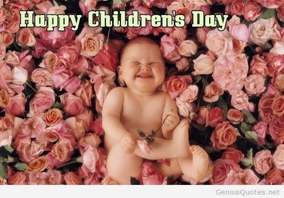 Happy childrens day cute smiling kid on roses