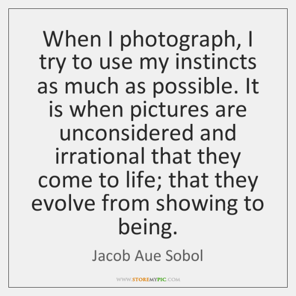 When I photograph, I try to use my instincts as much as ...