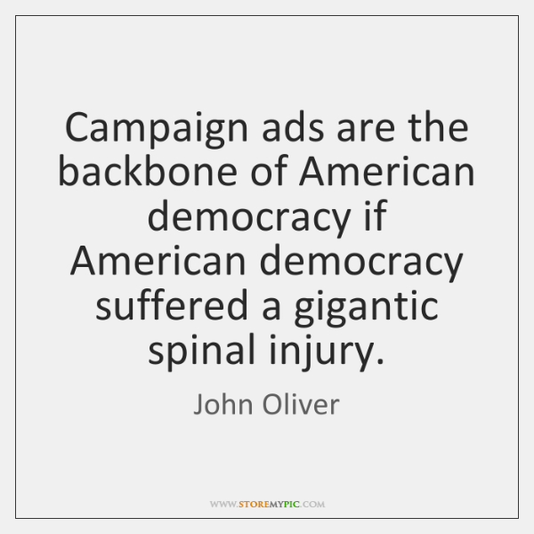 Campaign ads are the backbone of American democracy if American democracy suffered ...