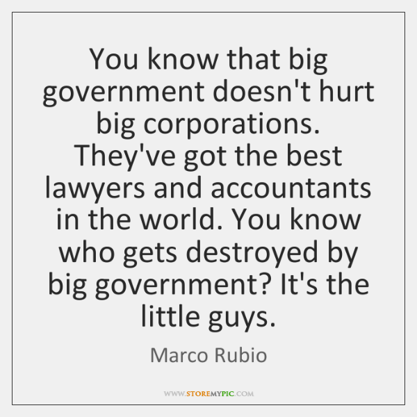 You know that big government doesn't hurt big corporations. They've got the ...