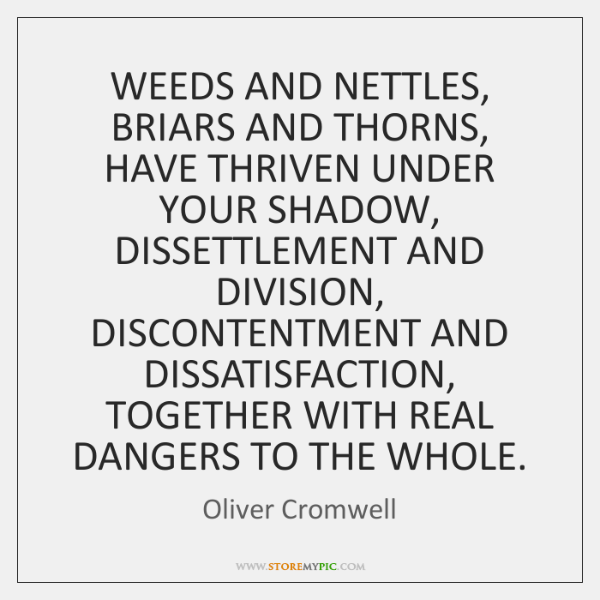 WEEDS AND NETTLES, BRIARS AND THORNS, HAVE THRIVEN UNDER YOUR SHADOW, DISSETTLEMENT ...