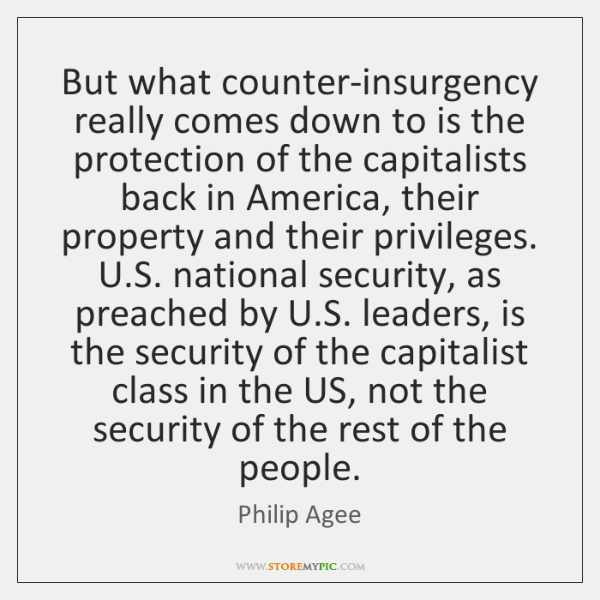 But what counter-insurgency really comes down to is the protection of the ...