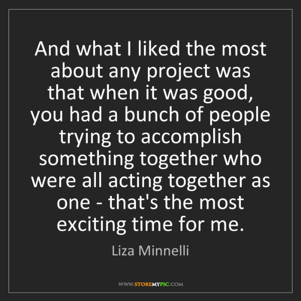 Liza Minnelli: And what I liked the most about any project was that...