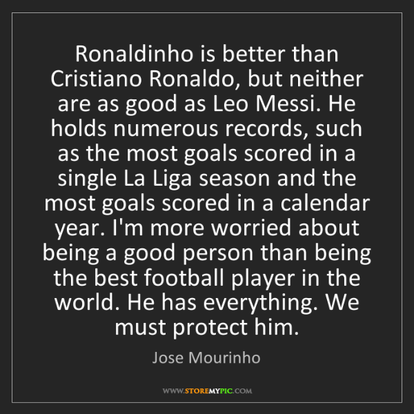 Jose Mourinho: Ronaldinho is better than Cristiano Ronaldo, but neither...