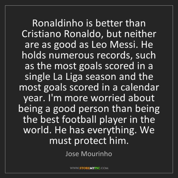 Jose Mourinho: Ronaldinho is better than Cristiano Ronaldo, but neither...