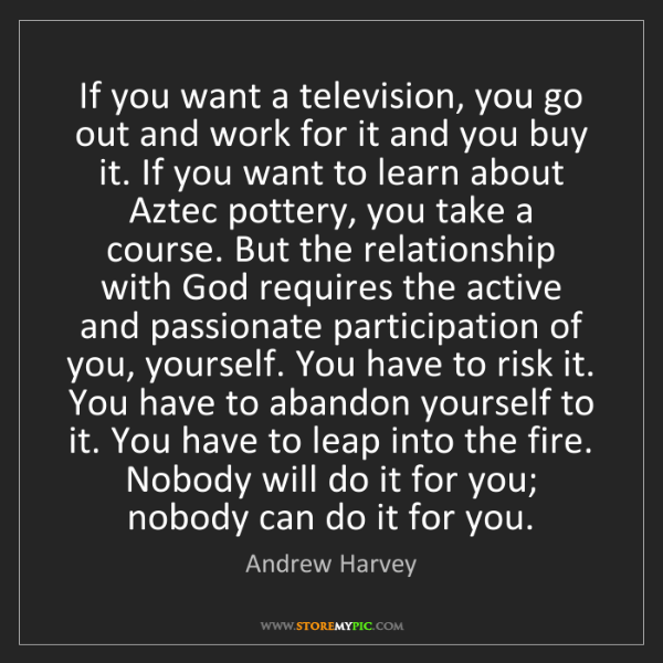 Andrew Harvey: If you want a television, you go out and work for it...