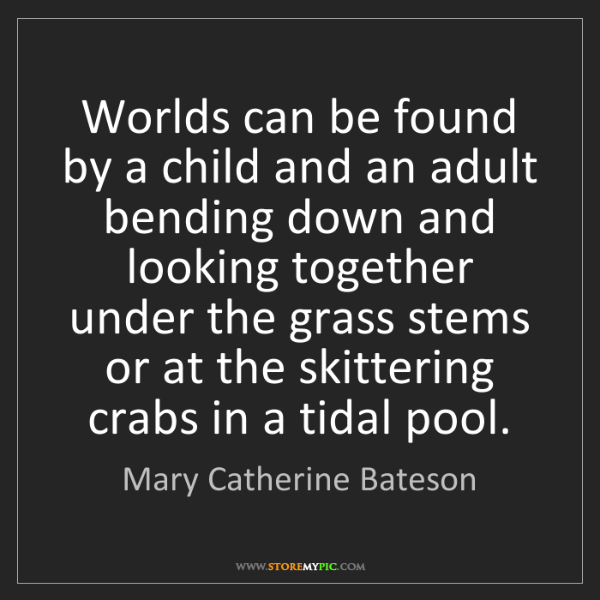 Mary Catherine Bateson: Worlds can be found by a child and an adult bending down...