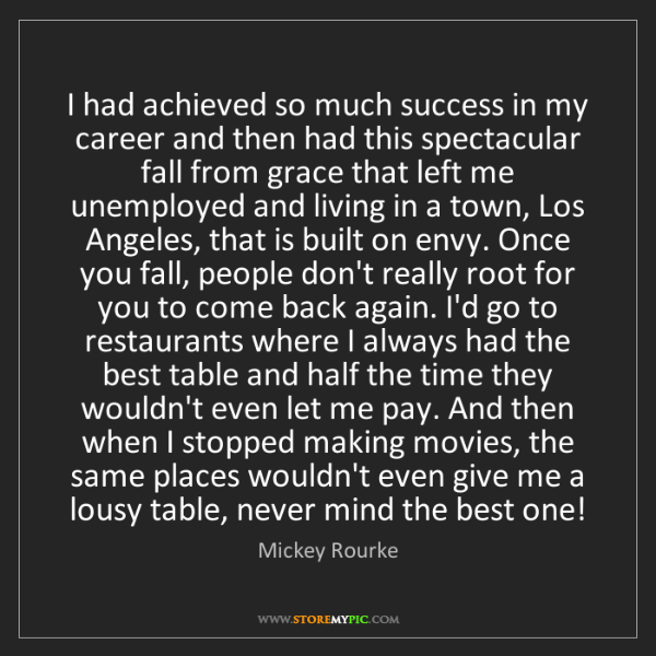 Mickey Rourke: I had achieved so much success in my career and then...