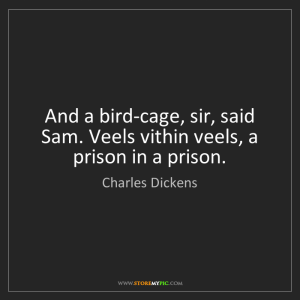 Charles Dickens: And a bird-cage, sir, said Sam. Veels vithin veels, a...