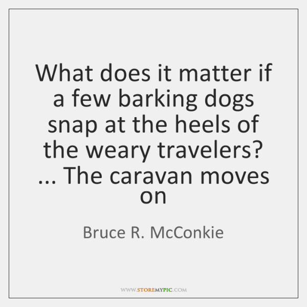 What does it matter if a few barking dogs snap at the ...