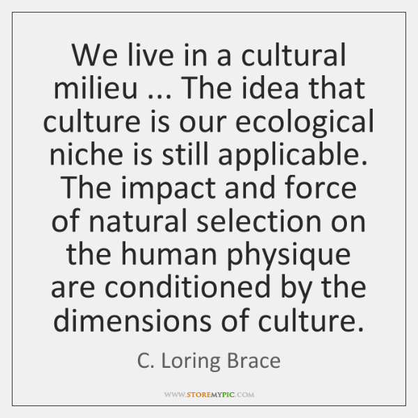 We live in a cultural milieu ... The idea that culture is our ...