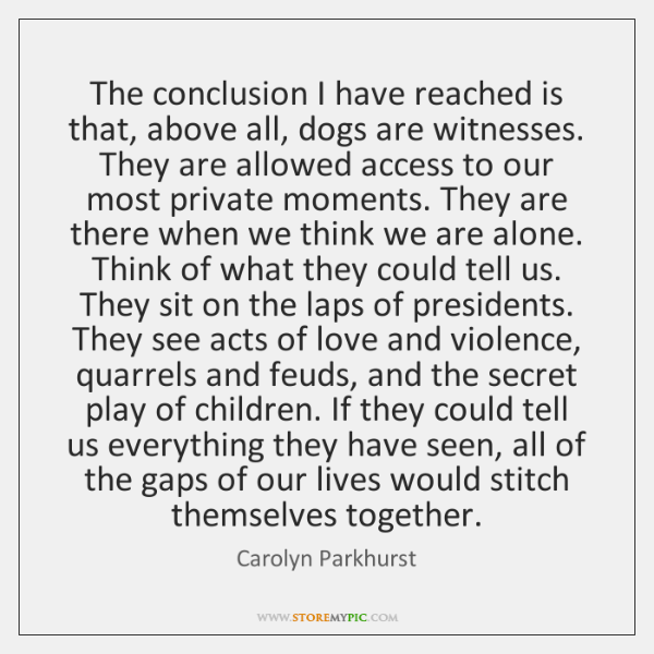 The conclusion I have reached is that, above all, dogs are witnesses. ...