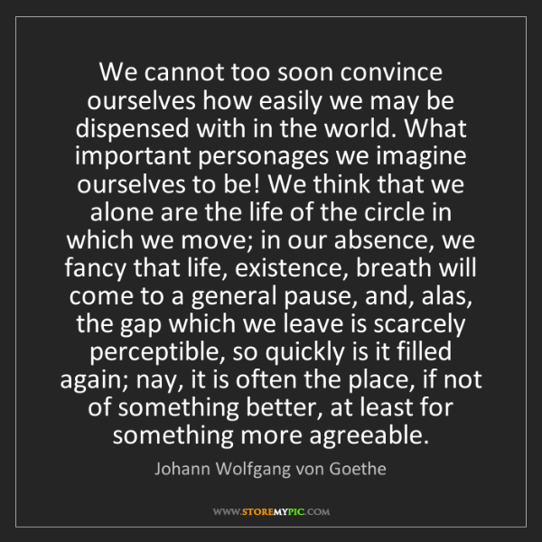 Johann Wolfgang von Goethe: We cannot too soon convince ourselves how easily we may...
