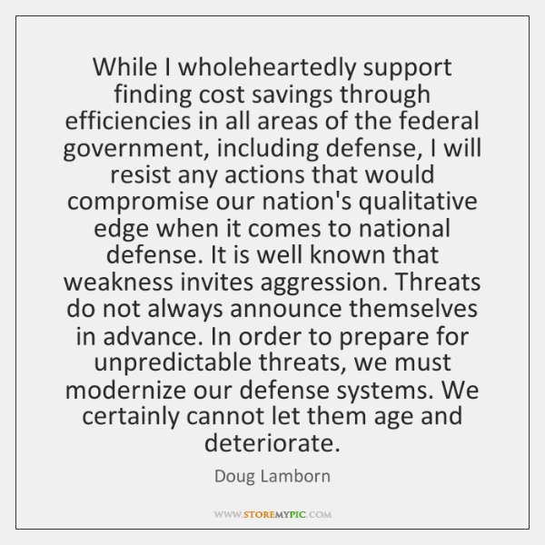 While I wholeheartedly support finding cost savings through efficiencies in all areas ...