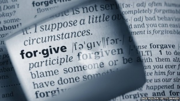 Forgiven blame someone or be have done something forgive