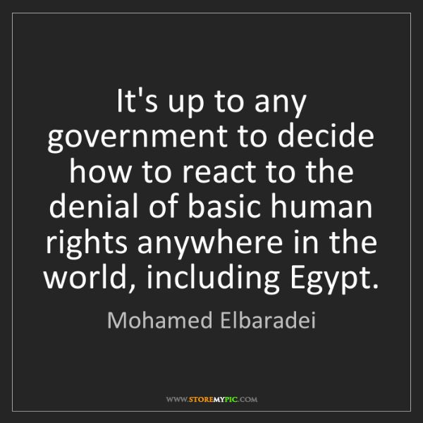 Mohamed Elbaradei: It's up to any government to decide how to react to the...