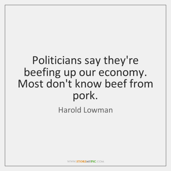 Politicians say they're beefing up our economy. Most don't know beef from ...