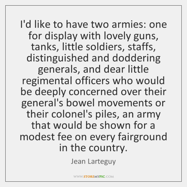 I'd like to have two armies: one for display with lovely guns, ...