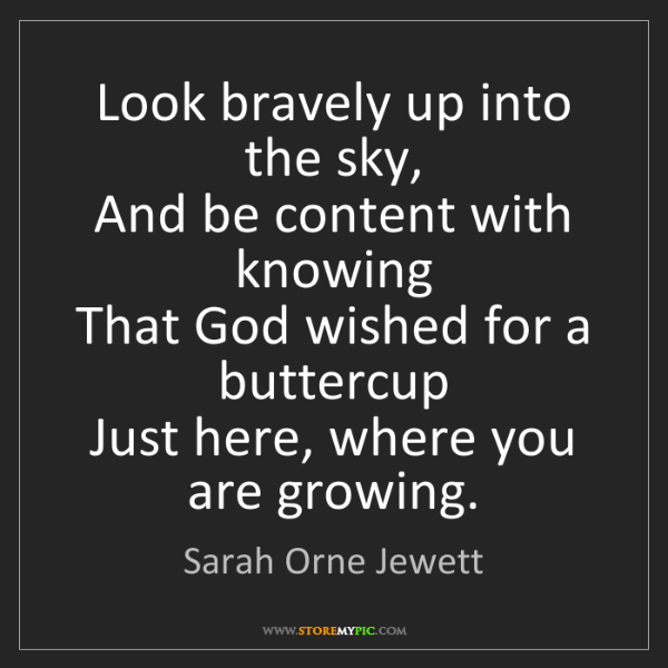 Sarah Orne Jewett: Look bravely up into the sky,  And be content with knowing...