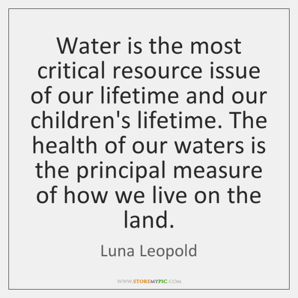 Water is the most critical resource issue of our lifetime and our ...
