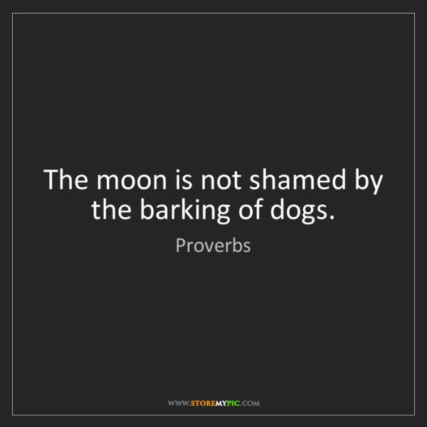 Proverbs: The moon is not shamed by the barking of dogs.