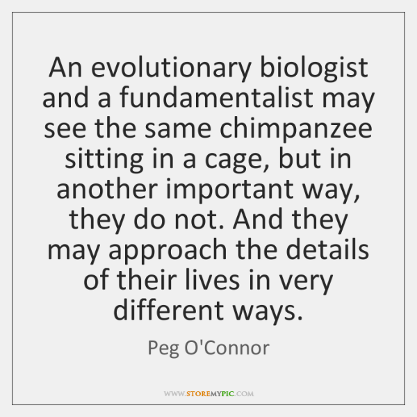 An evolutionary biologist and a fundamentalist may see the same chimpanzee sitting ...