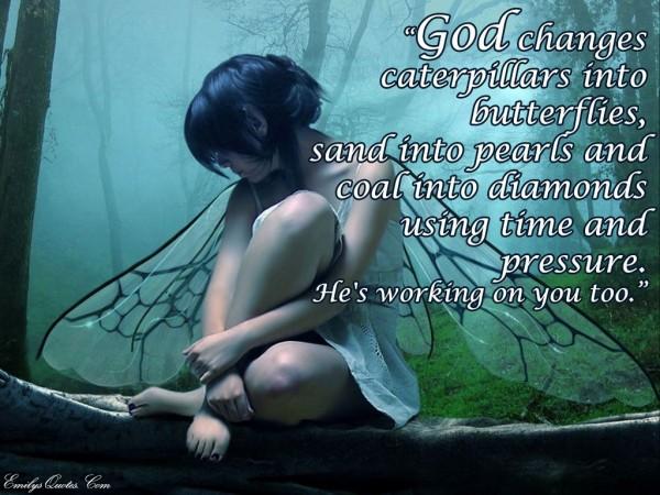 God changes caterpillars into butterflies