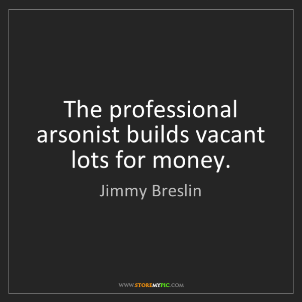 Jimmy Breslin: The professional arsonist builds vacant lots for money.