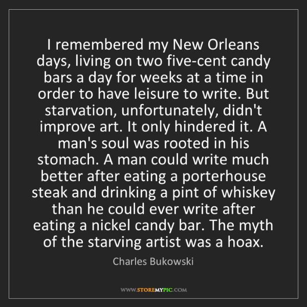 Charles Bukowski: I remembered my New Orleans days, living on two five-cent...