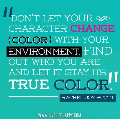 Dont let your character change color with your environment find out who you are and