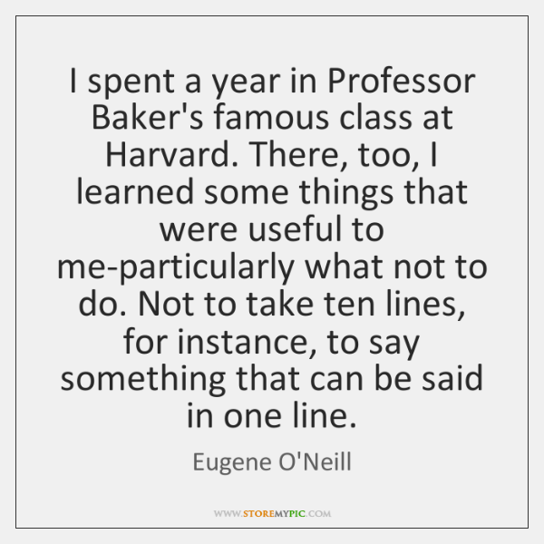 I spent a year in Professor Baker's famous class at Harvard. There, ...